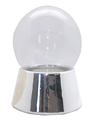 Snowglobe for you 40046 100mm-DIY-Schneekugel Sockel Silber mit Glaskugel für den Einbau Spieluhr Bastel-Schneekugel