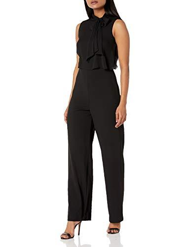 Calvin Klein Damen Petite Sleeveless Pop Over Jumpsuit with Bow Neck Kleid, schwarz, 40 Zierlich