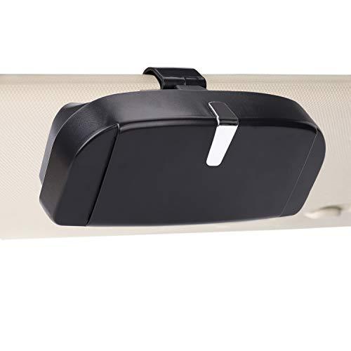 MengH-SHOP Auto Brillenetui Universal Brillen Aufbewahrungsbox mit Magnetischem Funktion und Karteneinschub Multifunktionale Auto-Brillenbox für Auto Sonnenblende (Schwarz)