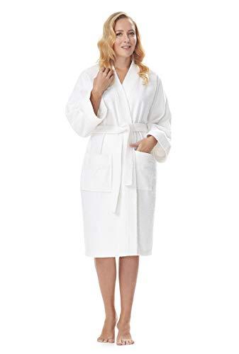Albornoz Kimono para Mujer, Blanco, S/M