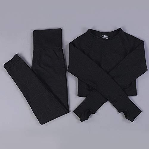 Vital Women Seamless Yoga Set Gym Cloth Camisas de Manga Larga Cintura Alta Leggings para Correr Sujetador de Entrenamiento Fitness Trajes Deportivos