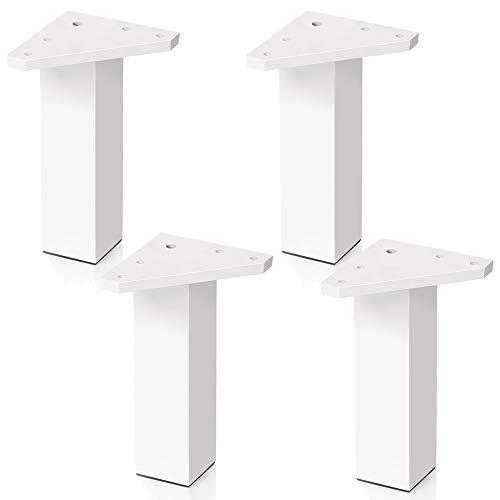 4 un. Pata pie cuadrada para Mueble en resina plastica abs ANTICORROSION 40x40mm altura 150mm blanco con Tapón contera