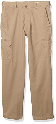 Haggar Men's Stretch Comfort Cargo Expandable Waist Classic Fit Plain Front Pant, Khaki, 40x29