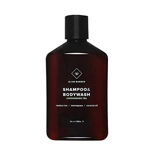 Blind Barber Lemongrass Tea Shampoo & Bodywash - Sulfate & Paraben Free 2-in-1 Hair & Body Cleanser with Coconut Oil for Men - Good for All Hair Types (12oz / 350ml)