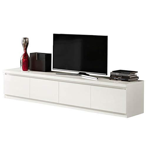 MF Mobile Porta TV Roma Bianco Laccato Lucido 4 Ante, 220 x 50 x h45 cm