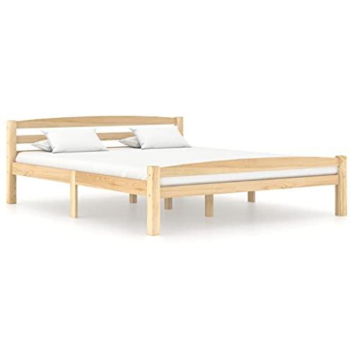 vidaXL Madera Maciza de Pino Estructura de Cama Casa Dormitorio Robusta Duradera Muebles Mobiliario Cómodo Moderna Matrimonial 160x200 cm