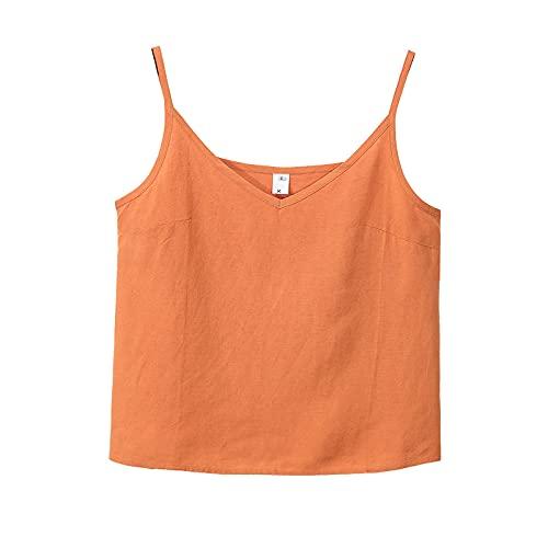 ZJMIYJ Camiseta Sin Mangas Vintage para Mujeres - Sexy Cotton Linen Spaghetti Strap Camisolesoles, Casual Summer Sleeveless Streetwear Vests Bluuse For Ladies Girls Gym Yoga Clothing,Orange,XL