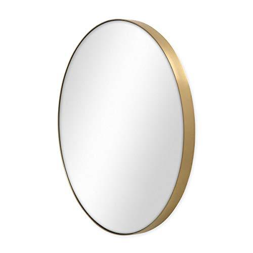 PHOTOLINI Spiegel Rund Gold mit Metall-Rahmen 50 cm Durchmesser Deko-Wandspiegel | Messing-Spiegel | Runder Goldener Spiegel