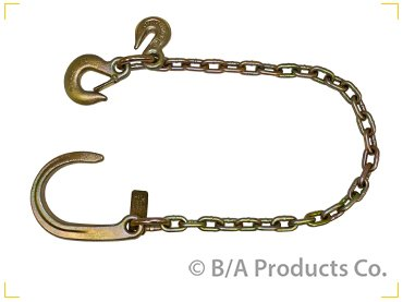 "BA Products #N711-AC3S - G70 5/16"" x 3' Ultimate Axle Chain w/8"" J Hook on one end & Grab Hook & Slip Hook on Other end"