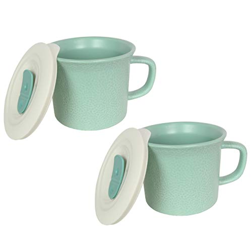 Corningware 20 Ounce Hammered Sage Green Meal Mug With Vented Lid – 2 Pack