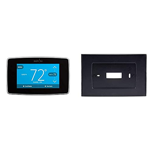Emerson Sensi Touch Wi-Fi Smart Thermostat with Touchscreen Color Display, Compatible with Alexa, Energy Star Certified, C-Wire Required, ST75 & A5B for Sensi Touch Wi-Fi Thermostat, Black