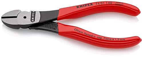 KNIPEX 74 01 140 Kraft-Seitenschneider schwarz atramentiert mit Kunststoff überzogen 140 mm