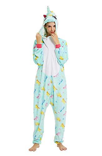 ABYED® Einhorn Kostüm Jumpsuit Onesie Tiere Fasching Karneval Halloween Faschingskostueme Erwachsene Cosplay Schlafanzug Maedchen Herren Kinder