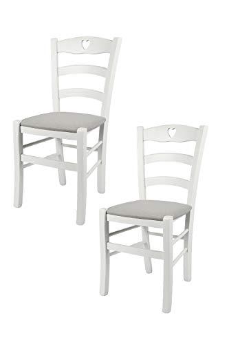 Tommychairs - Set 2 sedie modello Cuore per cucina bar e sala da pranzo, robusta struttura in Legno di faggio laccato bianco e seduta rivestita in tessuto colore grigio perla