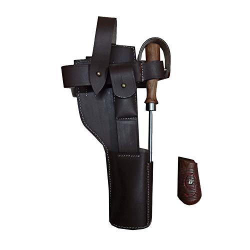 warreplica Deutsch C96 Broomhandle Mauser Braun Leder Holster mit Reinigungsstab + Handgriffe (Rot 9) - Reproduktion