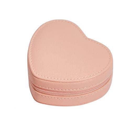 NFRADFM Joyero, caja de joyería portátil en forma de corazón, caja de joyería de cuero de la PU, caja de almacenamiento de joyería de collar de pendientes
