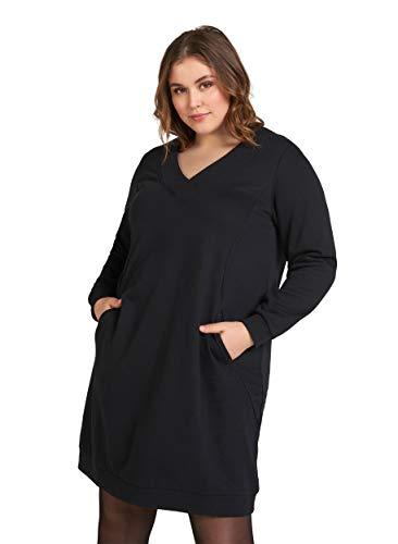 Zizzi Damen Große Größen Sweatkleid Langarm V-Ausschnitt Basic Kleid Schwarz Gr 46-48