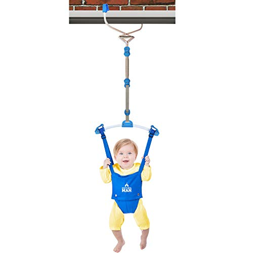 Great Price! OUTING MAN Door Jumper Swing Bumper Jumper Exerciser Set with Door Clamp Adjustable Strap for Toddler Infant 6-24 Months (Blue)