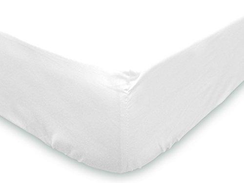 Soleil d'ocre 614800 Lenzuolo con Angoli 160 x 200 cm in Cotone Tinta Unita Bianco