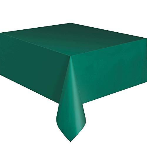 Qingsb 137 x 280 cm Rectangle Plastique jetable pour Table de fête Traiteur Nappe Vert émeraude