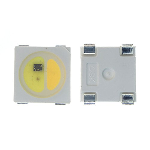 ALITOVE 100pcs SK6812 WWA SK6812WWA White Warm White Amber LED 5050 Chip 4 PIN SMD IC Built-In Individually Addressable Digital LED Light 5V White Version