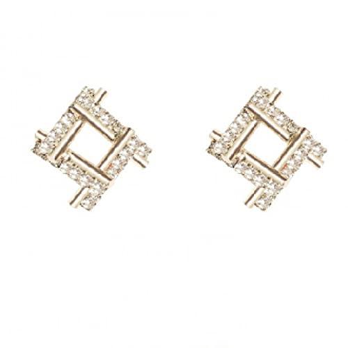 Temperamento cuadrado S925 pendientes de aguja de plata diamantes de imitación de spar geométricos pendientes de personalidad simple pendientes exquisitos pendientes de moda