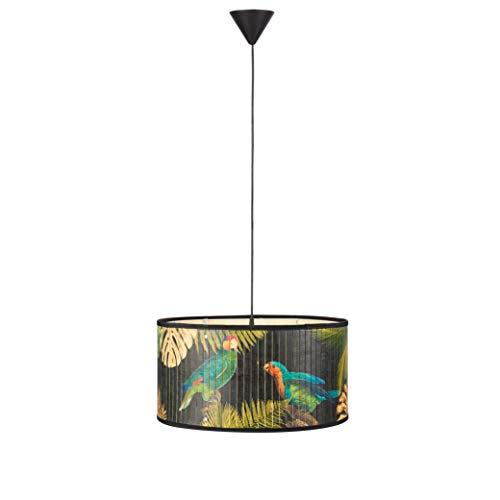 Markslöjd Victorian - Lámpara colgante de techo con 1 bombilla para salón, comedor o dormitorio - Portalámparas E27 de bambú multicolor con decoración de loro