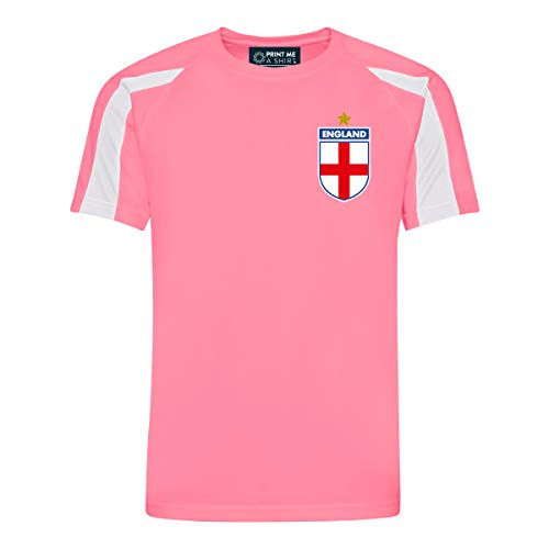 Kinder CUSTOMIZABLE Rosa und Weiß England Style Trikot Home, Electric Pink and White, 12