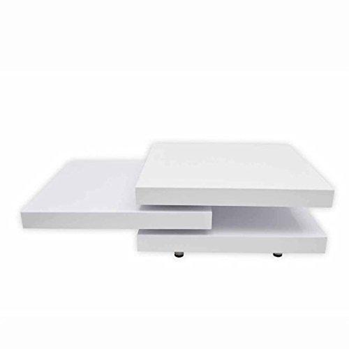 EBTOOLS - Tavolino da salotto per caffè, quadrato, in stile elegante, facile da pulire, superficie estensibile in MDF + cromato laccato bianco, 80 x 80-134 x 30,5 cm
