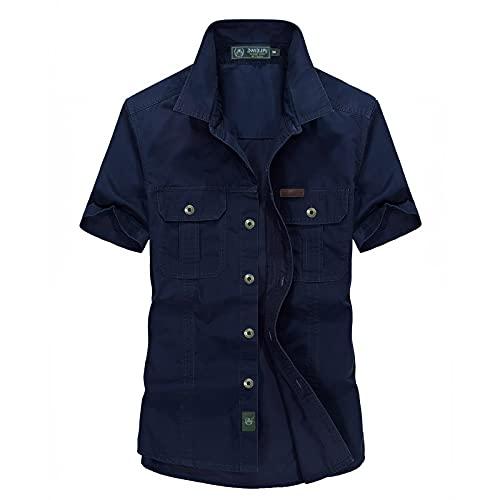 BIBOKAOKE Herren Cargo T-Shirt Vintage Revers Kurzarm Basic Männer Strickjacke Regular Fit ArbeitsHemd Outdoor Freizeithemd Sportbekleidung Kurzarmshirt Bluse Tops mit Brusttasche