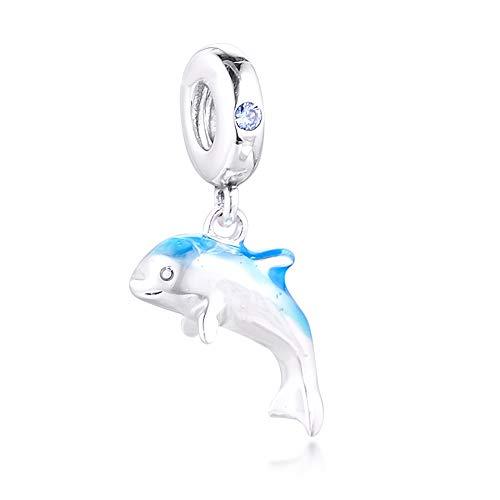 MOCCI 2020 Verano Azul Brillante Delfín Cuelga 925 Plata DIY Se adapta para Original Pandora Pulseras Charm Joyería De Moda