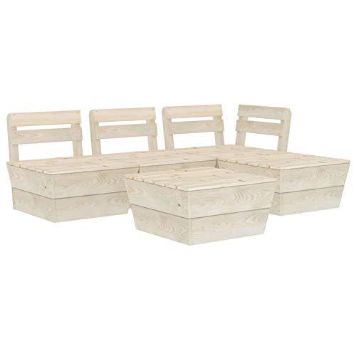 Tidyard Muebles de palets para jardín Sofá de palés para jardín 2# 5 pzas Madera de Abeto impregnada