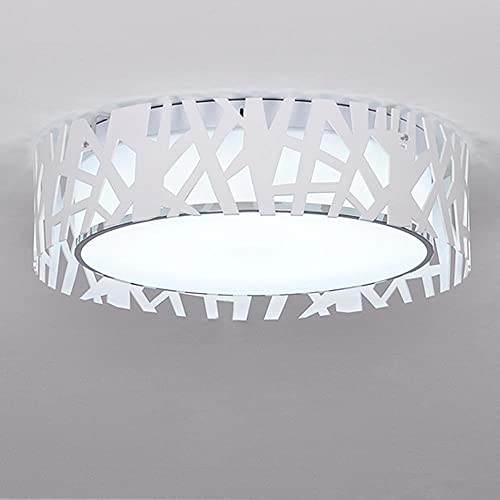 WDCC Lámpara de Techo de Pantalla Redonda LED Simple, lámpara de araña de Techo Blanca acrílica, luz Blanca de 45 cm