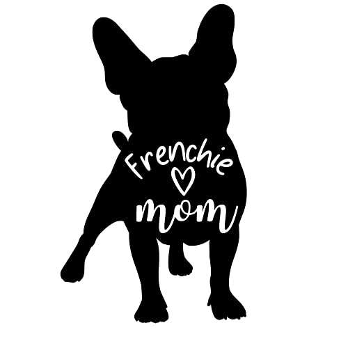 United by Color Frenchie Mom 5-by-3 Inches Black - Strong Adhesive Waterproof Frenchie Car Decal - Used for Car, Laptop, Water Bottle, Wall