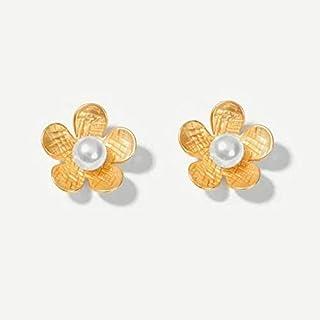 MONGHHF Earrings Elegant Fashion Gold Silver Metal Big Flower Earring For Women Imitation Pearl Jewelry Office