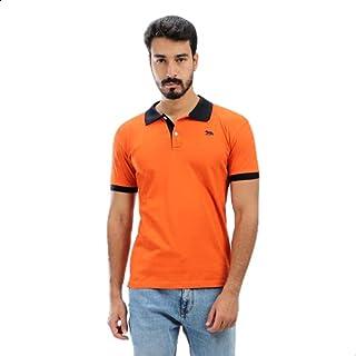 تيشيرت بولو قطن بأكمام قصيرة وشعار امامي مطبوع بأطراف مختلفة اللون للرجال من الفا فاشون - برتقالي