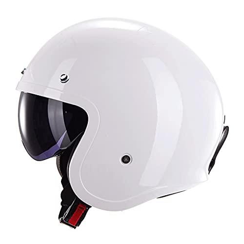 SHUTING2020 Half Casco Motocicleta Ciclismo Motocross Sports Cascos Relacionamiento rápido Hebilla Maldito Cascos para Hombres Mujeres (Color : White)