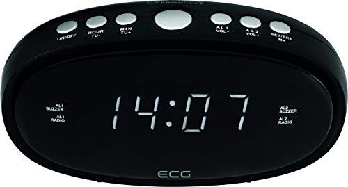 ECG RB 010 Black Radiowecker – FM Tuner; 10 Vorwahlen; Digitale Uhr/Wecker; Wecken durch Radio/Wecker; Funktion aufgehobene Weckzeit; Ausschalt-Timer Schwarz