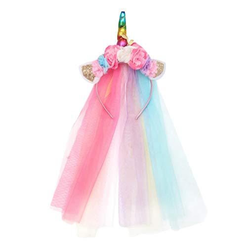 Lurrose Serre-tête de Licorne Voile de Mariage d'enfant Chapeau en Toile de Licorne Couronne Toile Licorne Guirlande Serre-Tête pour Anniversaire Décoration Fille