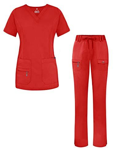 Adar Uniforme médico de Mujer Top Cuello en V Pantalones de Bolsillos múltiples - 4400 - Apple - L