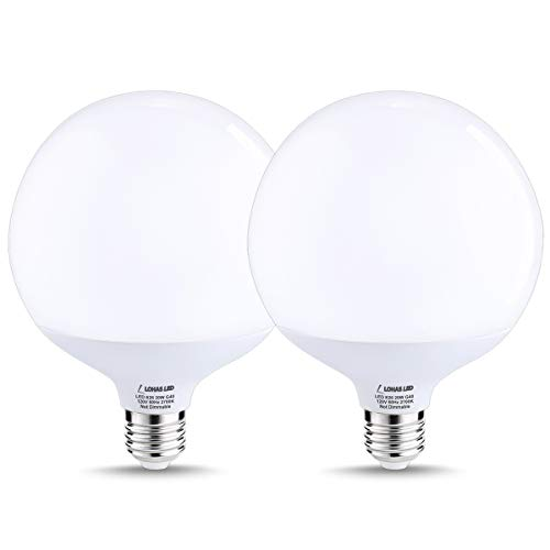 LOHAS LED Globe Light Bulbs 200 Watt Replacement, G40 LED Globe Bulbs E26 Base, Warm/Soft White 2700K, 20W LED, 1800LM High Brightness LED Bulb for Shop Garage Warehouse Porch, Not-dimmable, 2 Pack