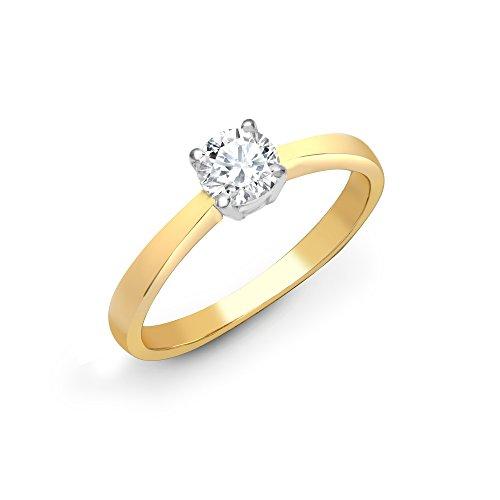 Jewelco Europa Anillo De Compromiso De Diamante Solitario Redondo Con 4 Garras De Juego De 4 Garras De Oro Amarillo De 18 Quilates Sólido G SI1 De 2 Quilates