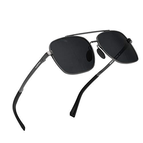 LUENX Herren Sonnenbrille Polarisierte Schwarz Linse- UV 400 Schutz Metall Grau Rahmen