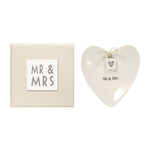 East of India Mr & Mrs Heart-Shaped Ring Dish in Gift Box, Porcelain