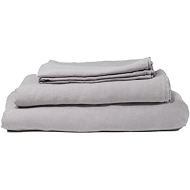 Hotel Sheets Direct 100% French Flax Linen King Pillow Case Set (2 King Pillowcases, Dove Grey)