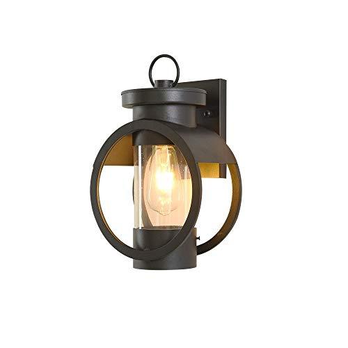 ZSLLO buitenwandlamp waterdicht eenvoudige wandverlichting creatieve insteekbare wandlamp glas lampenkap zwart