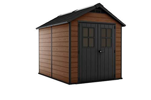 Keter 243409 - Caseta de jardín exterior Newton 757, color marrón