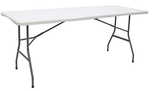 AMANKA Mesa de jardín 6 Personas, 180 x 70 cm, Plegable, Color Blanco