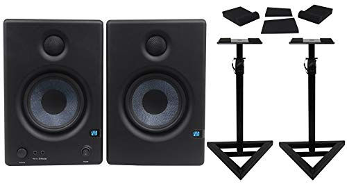 Presonus Eris E4.5 Active Active 2-Way 4.Near Field Studio Monitors (PAIR) Bundle with Pair Rockville RRS190S Foam Isolation Pads and RVSM1 Pair of Monitor Stands