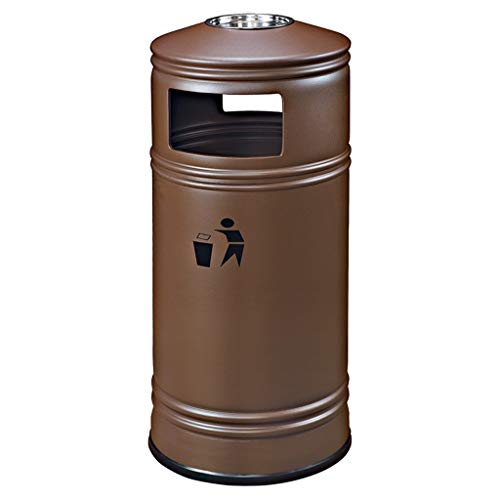 Xiaokeai Outdoor Trash Can Outdoor Indoor Large Trash Can, Creative Round Design with Stainless Steel Ashtray 33L Can be Used in Garden Road Plaza Hotel, Etc. (Color : Brown)